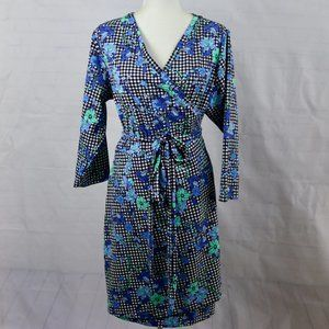 Lands End Gingham Plaid Floral Wrap Dress 1X